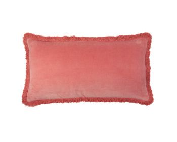 Birdie Fortesque Mishran Staple Velvet Rectangle Cushion in Rose Red
