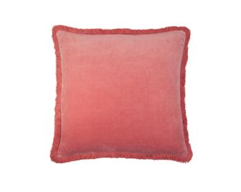 Birdie Fortesque Mishran Staple Velvet Square Cushion in Rose