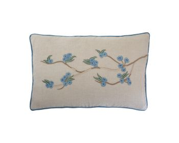 embroidered natural linen cushion with blue flowers birdie fortesque
