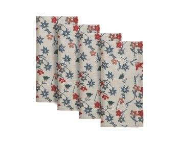 red and blue floral block printed natural linen napkins birdie fortesque