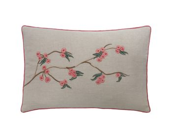 embroidered linen cushion pink flowers birdie fortesque