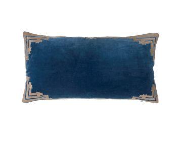 navy blue rectangular velvet cushion birdie fortesque