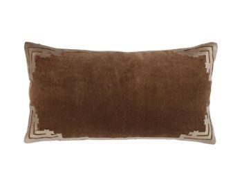 rectangular velvet cushion brown birdie fortesque