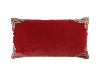 red rectangular velvet cushion birdie fortesque