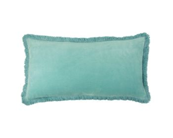 Birdie Fortesque Mishran Staple Velvet Rectangle Cushion in Turquoise