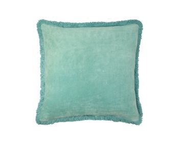 Birdie Fortesque Mishran Staple Velvet Square Cushion in Turquiose