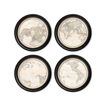 C.1838 World map Hemispheres Round Frames