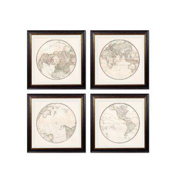 C.1838 World map Hemispheres Round Frames Vintage prints