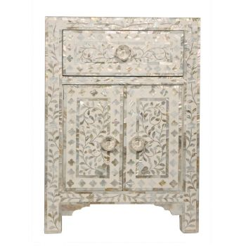 White Mother of Pearl Patterned Hand Crafted Wood Exotic Indian Furniture Bedside Table Cupboard Bedroom