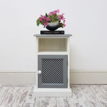 White & Grey Lattice Pot Cupboard