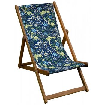 Vintage Style Deckchair with William Morris Seaweed Design Sling