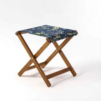 Outdoor Teak Stool with William Morris 'Seaweed' Design