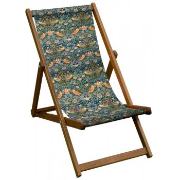 Vintage Style Deckchair with William Morris Strawberry Thief Design Sling