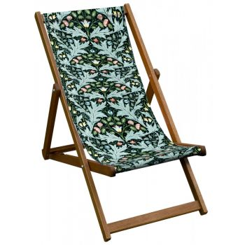 Vintage Style Deckchair with William Morris Yare Design Sling