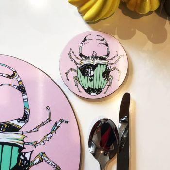 Baby Scarab Beetle Mint Coaster