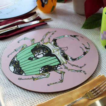 Melamine Eucalyptus Cork Printed Beetle Green Pink Patterned Placemat