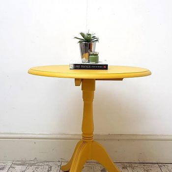 Vintage Mustard Round Occasional Table