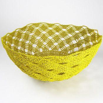 Yellow Crochet Basket