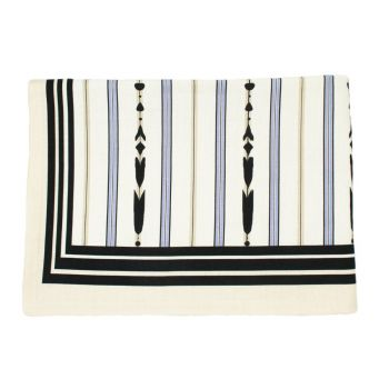 The Zephyr Lilac, Cream and Black Striped Linen Tablecloth , Large